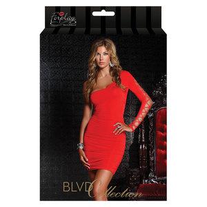 Rood jurkje met één schouder